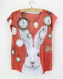 Wholesale rabbit pocket watch red shirt bunny chemise femme new design d printed novel cheap made in china t shirt feminina