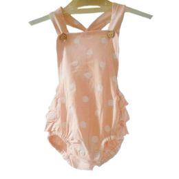 Wholesale Girls Romper Summer Cotton Dot Children Clothes Kids Clothing Girl Bodysuit Pram Suit Baby Jumpers Newborn Rompers kids Apparel Free Shippin