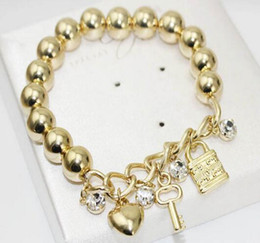 Fashion Women Heart Key Lock Pendant Charm Beads Bracelets For Women Silver Gold Plated Crystal Bracelets Bangles Give Lovers Gift Jewelry