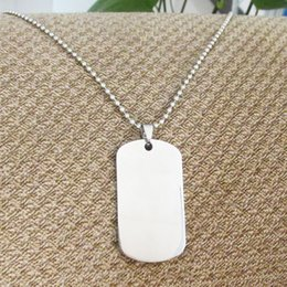 50pcs lot Blank Stainless Steel Military Dog Tags + 60cm Bead Chains Fashion Men Pendants dog tags