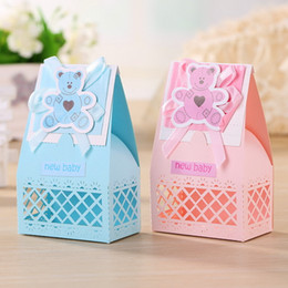 Wholesale Pink and Blue Cute Baby Favors Boxes Baptism Bombonieres Favors Baby Shower Favors Ideas Guests Gifts Box