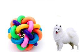 Wholesale Colorful Pet Toy Dog Bell Ball Puppy Cat Play Fun Chew Ball Bite Resistant Rainbow Color Rubber Material Exercise Equipment Toy cm
