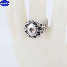 NOOSA Fashion Elastic Rope Style DIY Chunk 12MM Snap Button Lotus Shape Ring with Rhinestone Noosa Jewelry for Free Style