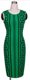 Fashion Plus Size Women Clothing Sexy Club Bandage women clothes Green Geometric Print Elegant Bodycon Pencil Dress S to XXXL free shipping