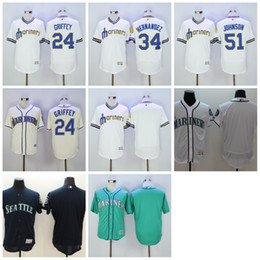 Wholesale 2016 Seattle Mariners Jerseys Ken Griffey Flexbase Baseball Jerseys Felix Hernandez Cool Base Elite Stitched Suzuki Ichiro Green