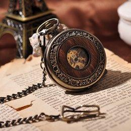 Wholesale Wooden Roman Numbers Round Pocket Watch Men Women Necklace Chain Vine Suits Bronze Vine Pocket Watch Sales