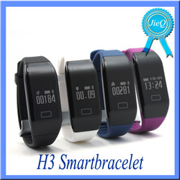 Wholesale H3 Herat Rate Smart Bracelet Wristband OLED Screen W D sensor For iPhone Android IOS cell Phone Sport Watch Fitbit bands VS TW64