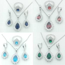 Wholesale 2016 Hot sell Newest Sterling Silver Jewelry Sets For Women Blue Green White Red Sapphire White Topaz Necklace Pendant Earrings Rings