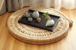 Wholesale Rustic round area Rug Straw Mat kid s gift ottoman Floor cushions Floor pouf kids gift meditation cushion Pouf meditation mat wedding gift