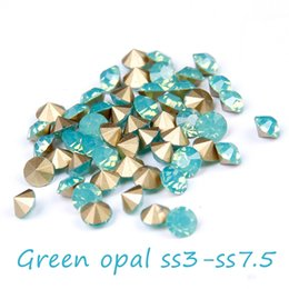 Green Opal Glass Rhinestones For Nails Art Decoration ss3-ss7.5 Pointback Mini Nail Rhinestone Non Hotfix Beads DIY Accessories