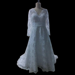 V Neck Long Sleeves Lace Tulle A Line Wedding Dress 2019 Court Train Wedding Gowns Real Photo