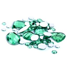 Nail Art strass Mixed Sizes Sun Green Color Round Acrylic Loose Non Hotfix Flatback Rhinestones For Wedding Clothing Decorations