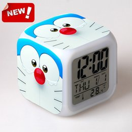 Wholesale New arrived Doraemon cool alarm clocks Japanese anime Thermometer Night Colorful Glowing toys