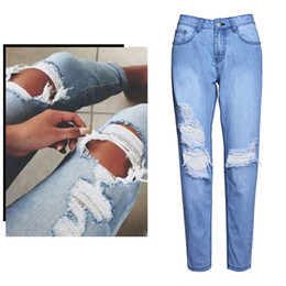 Women's Hole Ripped Jeans Girls Hip Hop Club Bottoms Fashion Blue Washed Denim Pants Loose Casual Jeans BSF0343