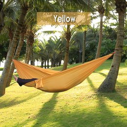 Wholesale Hammock Person With Stong Rope Assorted Color Parachute Nylon Fabric Sleeping Bed Eno Hiking Equipment Tent Traveling Kit