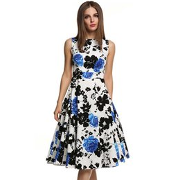 Womens Elegant Vintage Floral Flower Print Tunic Work Office Casual Fit and Flare Party A-Line Skater Dress