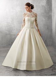 Wholesale 2016 Satin Princess Ball Gown Wedding Dress With Florals Applique Long Sleeve Jewel Neckline Abbie Ronald Joyce Bridal Gowns Aug