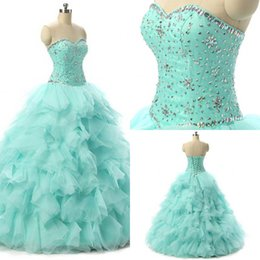 Wholesale Sexy Girls Dressed Princesses - Debutante Quinceanera Dresses Gowns For Sweet 15 Years Girls Princess Ball Gowns Prom Evening Dress Custom Lace Up Sweetheart Beaded Collar