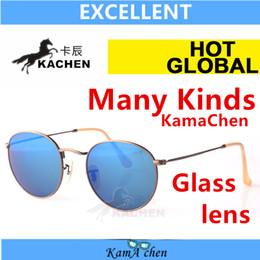 Wholesale KaChen round Red Blue Green Gold Bottle Green Lens UV400 protection metal frame sunglasses glasses men women Normal size