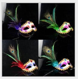 Wholesale New Upscale two root mountain chicken feathers exquisite peacock feather dance performances masquerade mask LP20220 cheap