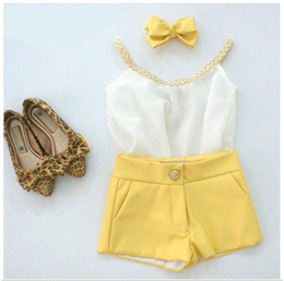 2016 New Kids Clothing Sets Baby Girl White Chiffon Sun Tops +Yellow Shorts Pants 2pcs Set Children Summer Outfits Cute Girls Casual Suit