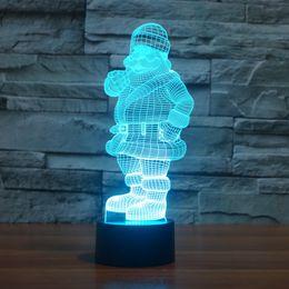 2017 New Design Father Christmas santa claus 3D Optical Lamp Night Light 9 LEDs Night Light DC 5V Colorful 3D Lamp