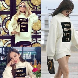 Wholesale acne studios l nyg tide brand autumn color Acne flocking printing gold letters collar fleece long sleeved sweater with men and women
