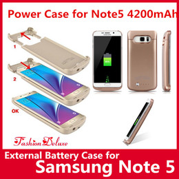 Wholesale 4200mAh Power Case for Samsung Note5 External Battery Case Portable Backup Charger Case High Quality Power Bank Case Pack for Note Instock