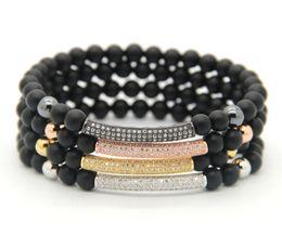 2016 New Fashion Men & Women Jewelry Wholesale 6mm Natural Matte Agate CZ Micro inlay zircon beads Tube Beaded Stretch Bracelets
