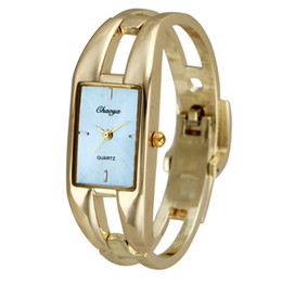 Wholesale Beautiful Women Girl Chaoyada Gold Stainless Steel Rectangle Dial Bracelet Wrist Watch