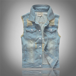 Fashion Casual Holes Denim Vest Street Style Tops Jeans Waistcoat Club Style Men's Skinny Jeans Vests Jacket