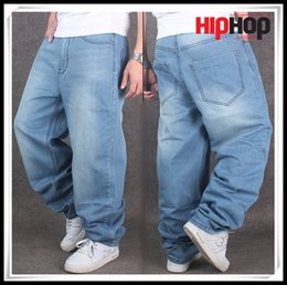 Wholesale New Brand Men Baggy Blue Jeans Big Size Mens Hip Hop Jeans Long Loose Fashion Skateboard Relaxed Fit Jeans Mens Harem Pants