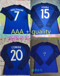 Wholesale AAA Long sleeve France Jerseys home Thai Quality Euro Cup GRIEZMANN PAYET POGBA soccer jersey