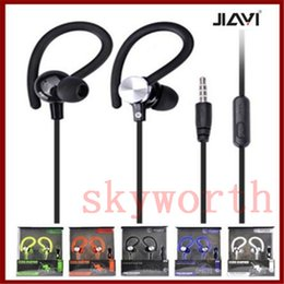 Wholesale ear hook universal earphones with microphone sports headset music strong bass JY A1 in ear for iphone samsung mobile phone mp3 flat cable