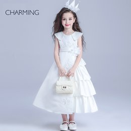 Wholesale girl beauty pageants designer dresses for kids White round neck Belt decoration long section Satin fabric designer dresses