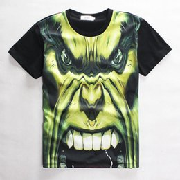 Wholesale Stereoscopic D Printed T Shirt Slim Skull Diffuse Wei Hulk Animated cartoon T Shirt Casual Hort Sleeved Personality Cotton Man D T Shirt