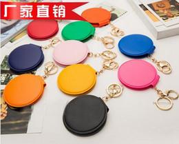 Wholesale Factory Price Keychain Mirror Foldable Makeup Mirror Keychain PU Leather Keyring Purse Pendant Handbag Charm By DHL