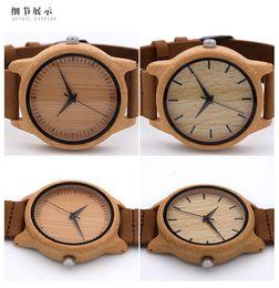 Hommes robe gros de montre à vendre-Montres en gros Montres en bois Femmes Vintage Vintage Cuir Quartz Bois Couleur Montre Horloge Montres Nouveau Luxe Montres-bracelets