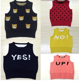 Wholesale 2016 Baby Boy Girl Kikikids Kids Cartoon characters Vest Toddler Knit spring Sleeveless Tanks Children Cute Kawaii Clothes Top