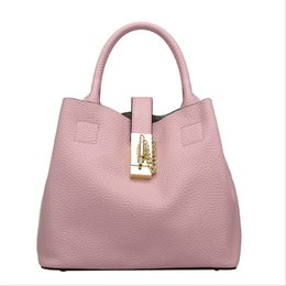 Wholesale Womens Drawstring Bags Plain Genuine Leather One Shoulder Bags Soft Bucket High Quality Pink White Summer Colors CH800002