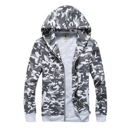 Wholesale-Hot Sale Men Fashion  Zipper Hoodies Sweatshirt Long Sleeved Camouflage Print Men Zipper Jacket Outwear Freeship