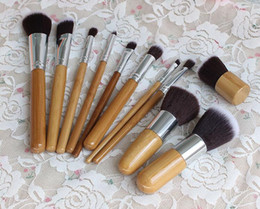 Wholesale 11pcs Professional High Quality Bamboo Makeup Brush Set Goat Hair Cosmetic Makeup Brushes Kit With Bag Make Up Tools Cosmetic Brushes
