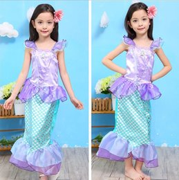 Wholesale Mermaid Big Childrens Dresses for Girls Dress Belle Mermaid Princess Dress Clothing Fashion Summer Sleeveless Girl Dress Kids Clothes