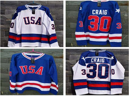 Wholesale Top quality Jim Craig Hockey Jersey Miracle On Ice Jersey USA Olympic Ice Hockey White Navy blue Stitched Customized Jerseys