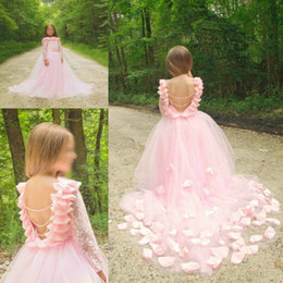 2016 Backless Hot Junior Girls Pageant Gowns Lace Long Sleeves Tulle Princess Prom Party Dresses Pink Flower Girls Dresses For Wedding