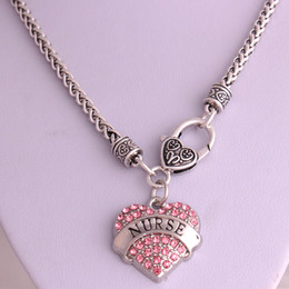 Best price High Quality rhodium plated zinc studded with sparkling crystals NURSE heart pendant wheat chain necklace