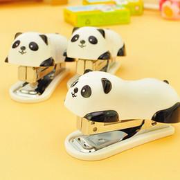 Wholesale 1 mini panda stapler set cartoon office school supplies staionery paper clip Binding Binder book sewer