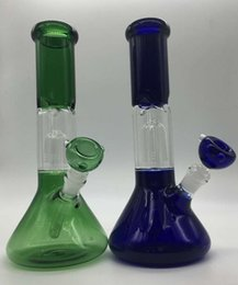 Wholesale 2016 Tender Perc Removable Dome Perc Beaker Base Glass Bong blue and green Glass water pipe with glass bowl