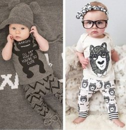 Wholesale Baby Boy clothes little monsters bowtie bear Short Sleeve T shirt Tops Pants printed Outfit Clothing Set lovely gift for kids
