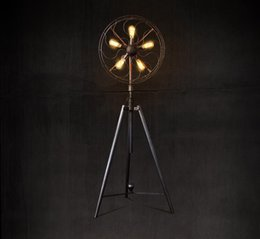 Wholesale LOFT American Country Vintage Living Room Industrial Coffee House Clothes Study Iron Art Fan Shape Floor Lamp